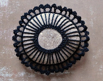 Crochet Lace Stone, Black, Original, Handmade, Table Decoration, Tribal, Art Object, Collectibles, Home Decor