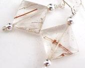 Copper Rutile Quartz Earrings
