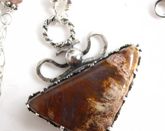 Wheat Fields Necklace - Plume Agate and Sterling Filigree