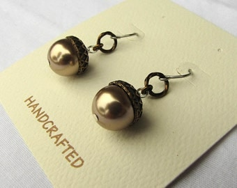 Swarovski pearls acorn mixed metal earrings