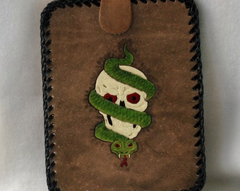 Hand Tooled Leather E-Reader Tablet Case with Scull, Snake and Flames