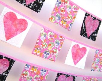 Pink Hearts 'n' Sugar Skull Bunting