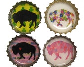 Buffalo Bottle Cap Magnets - Set of 4 - Refrigerator Magnets - Buffalo NY