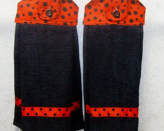 SET of 2 - Hanging Cloth Top Kitchen Hand Towels - Black and Red Polka Dot Print - Black Towels