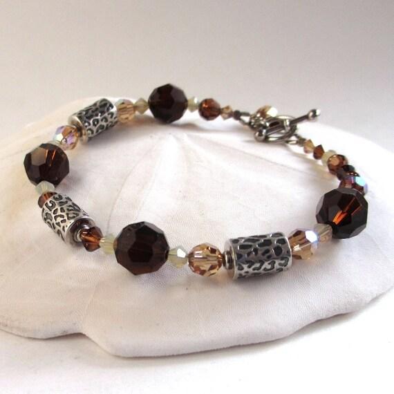 Animal Print Beaded Bracelet, Sterling Silver Leopard Print Bracelet, Swarovski Crystal Bracelet,  Cheetah Print Bracelet, Fall Colors, Kitt