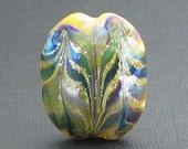 Silvered Chevron Ivory, Blue, Green - KERSTIN - Handmade Lampwork Focal Bead
