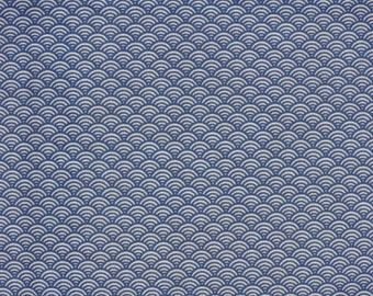 Japanese wave fabric Tenugui 'Blue Waves' Fabric 'Seigaiha' Cotton Gauze w/Free Shipping