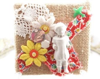 Live Your Dream Mixed Media Art Frozen Charlotte Burlap Shabby Assemblage Doll Art