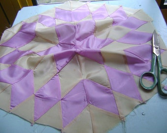 Vintage circa 1930s handmade harlequin pillow top handstitched - cream and violet