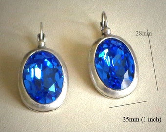 Swarovski crystal 18X13mm bright sapphire oval fancy stone leverback earrings,antique silver pl.,hot blue colour Austrian crystal earrings