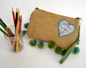 Heart of Texas Wristlet, Map of Austin, Reclaimed Leather, Vintage Pom Poms, Handmade in Austin, Texas