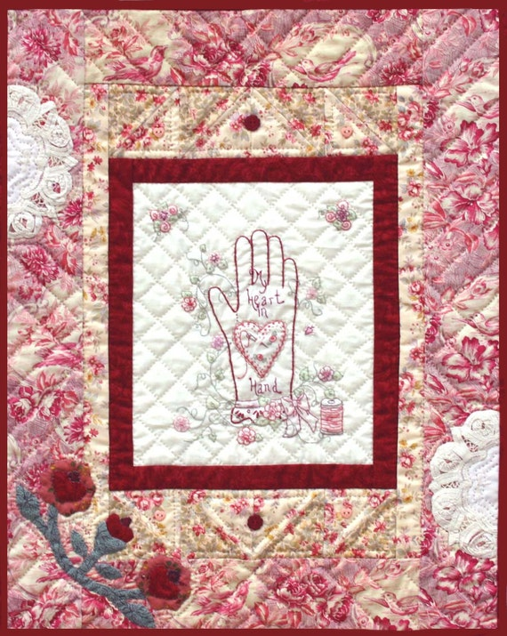 Hand Quilting Heart Patterns : Items similar to PDF Pattern - My Heart in Hand - quilt on Etsy