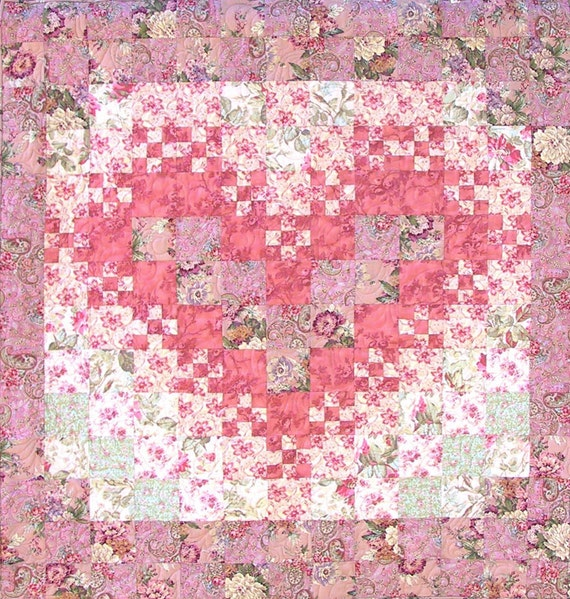 PDF Pattern - Heather's Lacy Heart  quilt