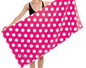 Extra Large Summer Pool or Beach Towel Polka Dot Personalized Free Hot Pink, Black, Turquoise