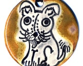 Cute Puppy Ceramic Necklace In Brown