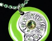 Bright Green Ammonite Sparkle Surly Necklace with Swarovski Crystals and Green Peridot Rhinestone Chain