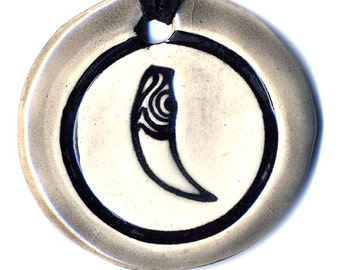 Wolf Tooth Talisman Ceramic Necklace in Gray