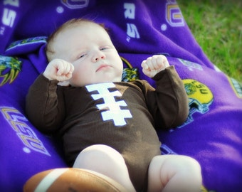 Football Brown Baby Bodysuit Long Sleeve