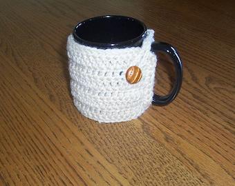 Hand Crochet Tan Coffee Mug Cozy