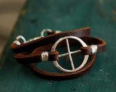 Leather Wrap Bracelet - Earth Day Jewelry - EcoFriendly Recycled Sterling Silver - Planetary Symbol Earth - Leather Bracelet - unisex B1046