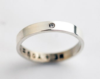 Wedding Band with a single Diamond - Wedding Band - Sterling Silver Band Ring - Diamond Ring - April Birthstone Ring - Personalized R4052