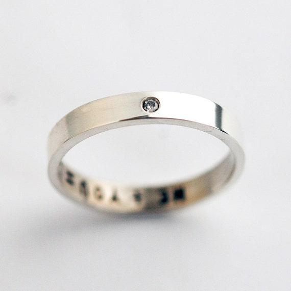 Wedding Band with a single Diamond Wedding Band Sterling