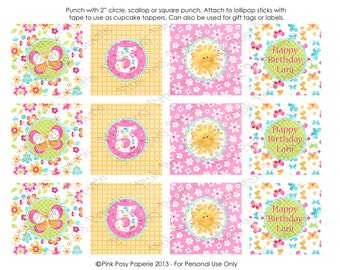 Printable Hello Sunshine Birthday Cupcake Toppers