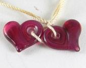 Lampwork Glass Beads pairs, hearts, valentine, pink, fuchsia, rubino, singles, freeform, handmade, sra, RUBY HEARTS