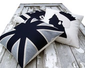 Britannia 3-set of cushions in black. grey & oatmeal white - karenhiltondesigns