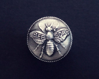Sterling Silver Honey Bee Soap ring made from antique vintage button
