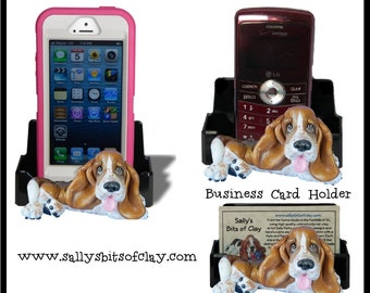 design 2 Red Tri-Color Basset Hound dog Holder for Cell Phone IPod IPhone or Business Cards OOAK by Sally's Bits of Clay