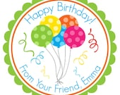 Party Balloons Personalized stickers, Hang Tags, Labels, Seals, Favor, Birthday, Party, Kids, Children - Set of 12