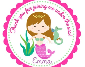 Mermaid Personalized  Stickers, Gift Tags, Party Favors, Address Labels, Birthday Stickers, Little Mermaid, Under the Sea  - Set of 12