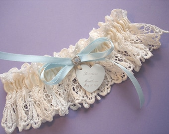 Ivory Wedding Garter in Venise Lace with Personalized Engraving, a Blue Bow and Swarovski Crystals