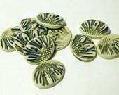 SALE Handmade Ceramic Buttons - Oval Flower Petals MINIS - Blue Green