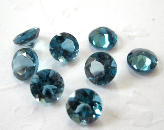 Faceted Gemstones London Blue Topaz Brilliant Cut AAA 5mm FOR ONE
