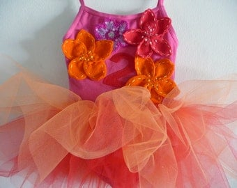 BIRTHDAY TUTU - Red, Orange, Hot Pink - PERSONALIZED - Birthday Number and Name - Sizes 18 months, 2/4 years, 4/6 years 6/8 years and up
