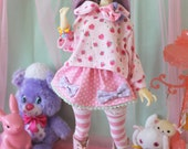 Fairy Kei Polka Dot MINI Skirt Pink and Purple and Mint for YoSD SlimMSD Minifee Raspberry Cute Lolita BJD Doll