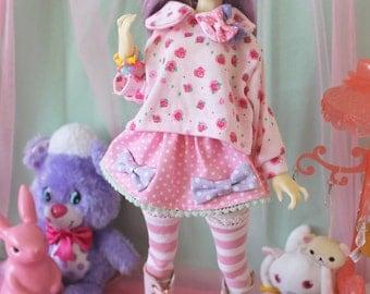 Fairy Kei Polka Dot MINI Skirt Pink and Purple and Mint for YoSD SlimMSD Minifee Raspberry Cute Lolita BJD Doll