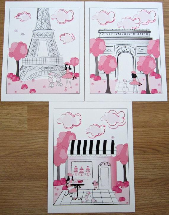 Pink Black Paris Parisan Toile 3 Art Prints For Girls bedding or bath decor