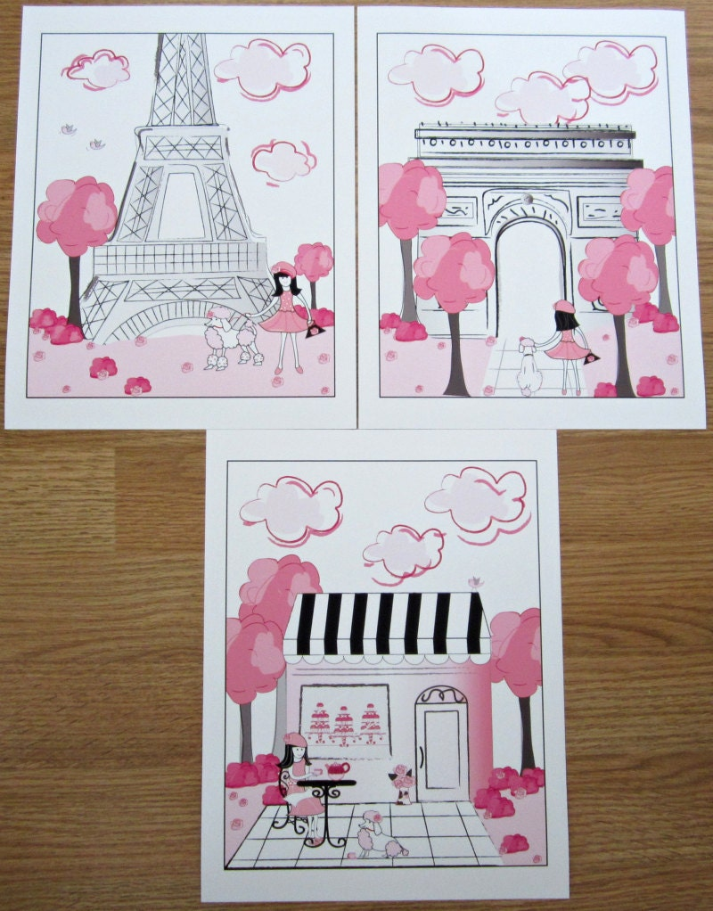 Pink Black Paris Parisan Toile 3 Art Prints For Girls Bedding