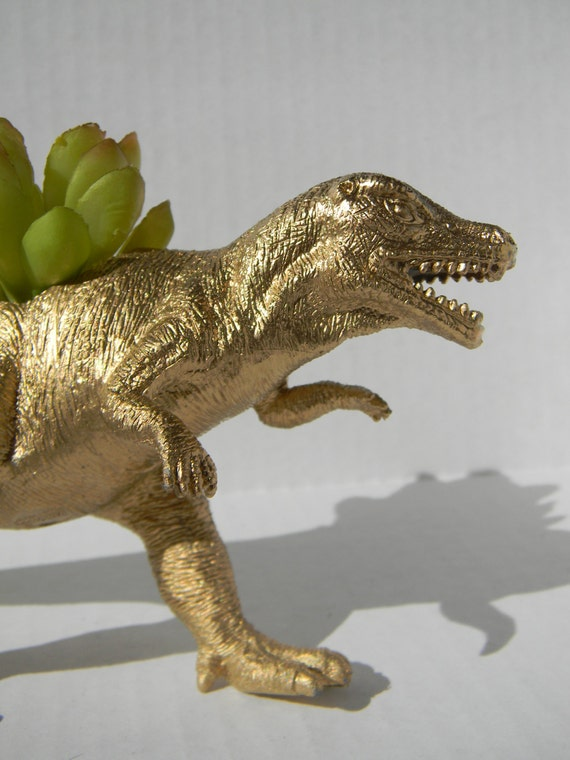 Gold Dinosaur Planter For Succulent Plants Fun By Crazycouture