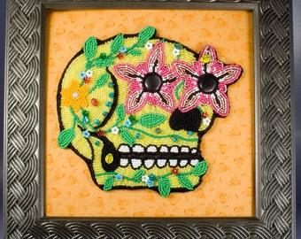 Sugar Skull // Beaded Painting // Dia de la Morte Skull // Yellow // Flowers // Seed Beads // Fabric // Mixed Media Art // Bead Embroidery