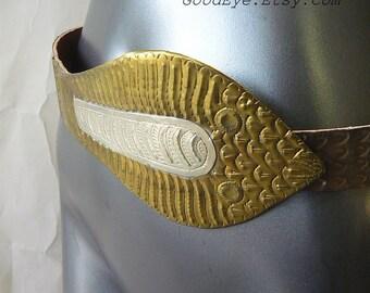 Vintage Wide Metal Cinch Belt  Cobra SNAKE 1980s Brass Silver SCALES  medium  waist 29 35 inch