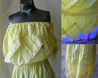 Romantic Strapless Mexican Dress  size 4 6 8 10 Pintuck Lace FIESTA small Yellow Summer Cotton Off Shoulder