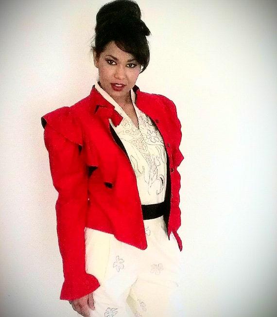 sale VINTAGE Corduroy Ruffle Red Bowtie Jacket M 8