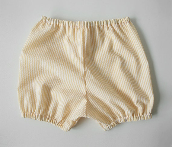 SALE: bloomers / shorts yellow seersucker stripe