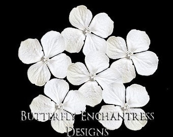 White Hair Flowers, Bridal Hair Accessories, Rustic Wedding Hairpins - 6 White Hydrangea Hair Pins - Clear Rhinestone Centers