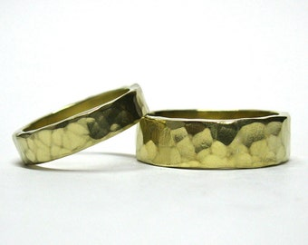 His and Hers 10k Gold Hammered Wedding Rings
