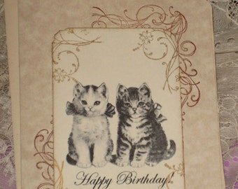 Happy Birthday Greeting Card with Two Kittens Cats
